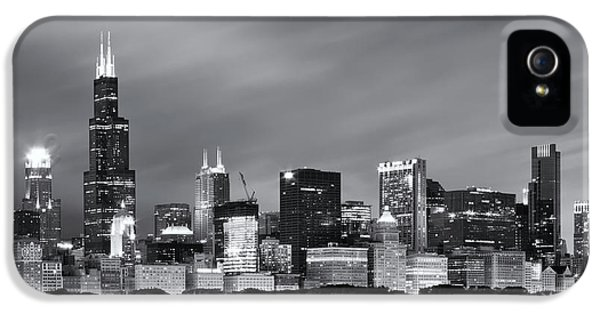 IPhone 5 Case featuring the photograph Chicago Skyline At Night Black And White  by Adam Romanowicz
