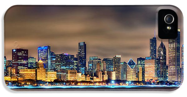 Chicago Skyline At Night Panorama Color 1 To 3 Ratio IPhone 5 / 5s Case by Jon Holiday