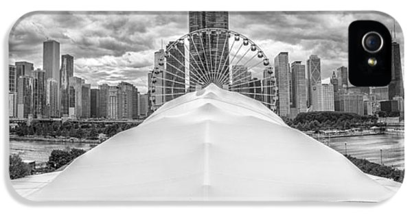 IPhone 5 Case featuring the photograph Chicago Skyline From Navy Pier Black And White by Adam Romanowicz