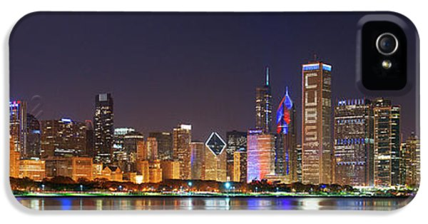 Chicago Skyline With Cubs World Series Lights Night, Moonrise, Chicago, Cook County, Illinois, Usa IPhone 5 Case
