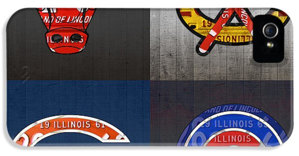 Chicago Sports Fan Recycled Vintage Illinois License Plate Art Bulls Blackhawks Bears And Cubs IPhone 5 Case