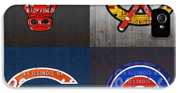 Chicago Sports Fan Recycled Vintage Illinois License Plate Art Bulls Blackhawks Bears And Cubs IPhone 5 Case by Design Turnpike