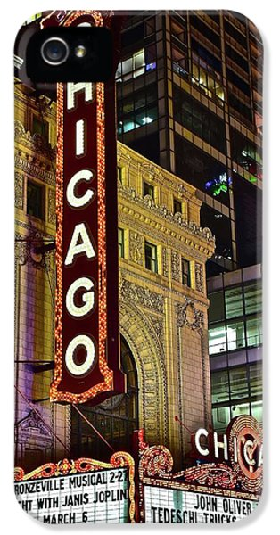 Hancock Building iPhone 5 Case - Chicago Theater Aglow by Frozen in Time Fine Art Photography