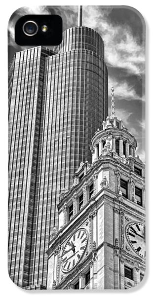 IPhone 5 Case featuring the photograph Chicago Trump And Wrigley Towers Black And White by Christopher Arndt