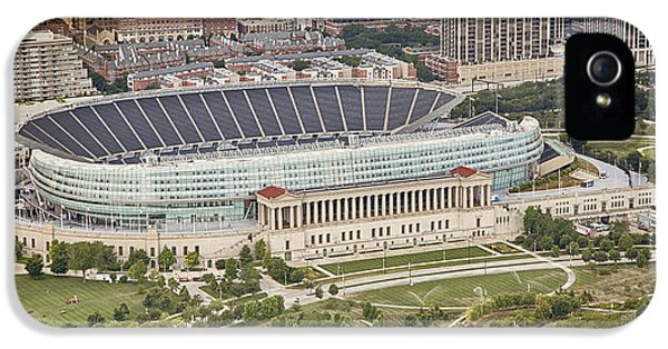 IPhone 5 Case featuring the photograph Chicago's Soldier Field Aerial by Adam Romanowicz