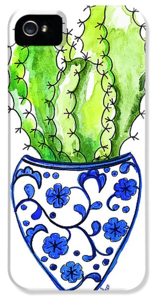 Chinoiserie Cactus No3 IPhone 5 Case by Roleen Senic