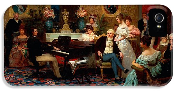 Chopin Playing The Piano In Prince Radziwills Salon IPhone 5 Case by Hendrik Siemiradzki