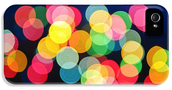 Blur iPhone 5 Cases - Christmas lights abstract iPhone 5 Case by Elena Elisseeva