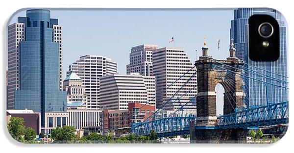 2012 iPhone 5 Cases - Cincinnati Skyline and John Roebling Bridge iPhone 5 Case by Paul Velgos
