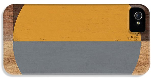 Cirkel Yellow And Grey- Art By Linda Woods IPhone 5 Case by Linda Woods