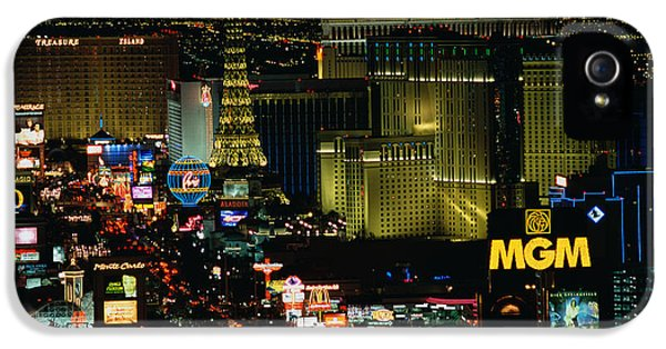 City Lit Up At Night, The Strip, Las IPhone 5 Case by Panoramic Images