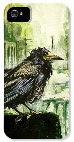 Falcon iPhone 5 Case - Cityscape With A Crow by Suzann's Art