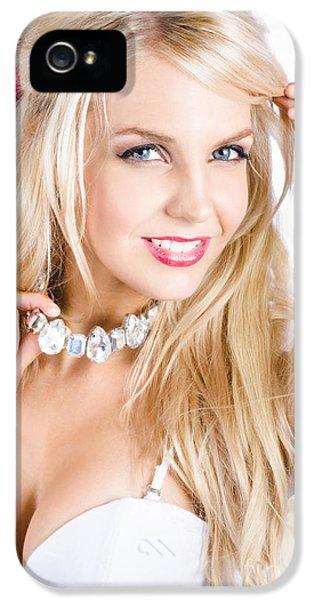 Classy Woman Wearing Diamond Jewelry Chocker IPhone 5 Case by Jorgo Photography - Wall Art Gallery