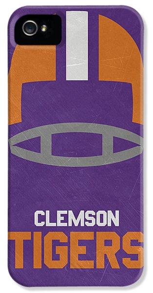 Clemson iPhone 5 Case - Clemson Tigers Vintage Football Art by Joe Hamilton