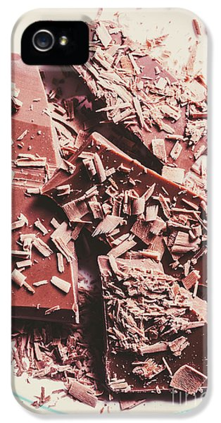 Closeup Of Chocolate Pieces And Shavings On Plate IPhone 5 Case