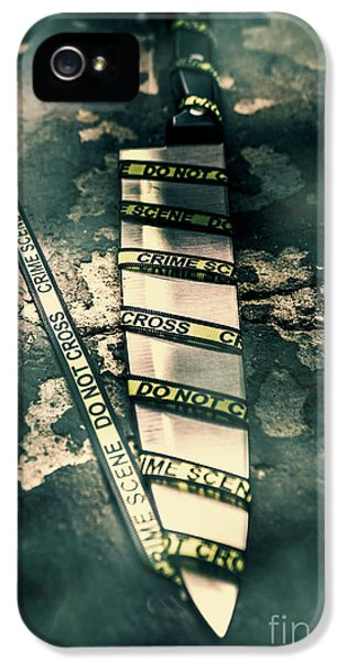 Closeup Of Knife Wrapped With Do Not Cross Tape On Floor IPhone 5 / 5s Case by Jorgo Photography - Wall Art Gallery
