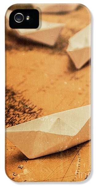 Closeup Toned Image Of Paper Boats On World Map IPhone 5 Case by Jorgo Photography - Wall Art Gallery