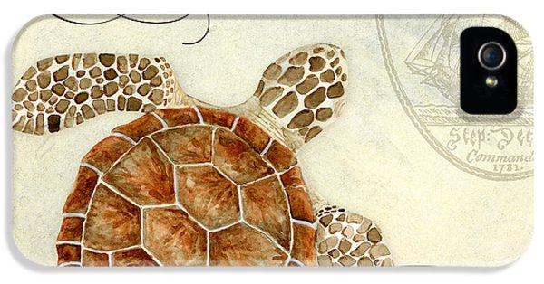 Coastal Waterways - Green Sea Turtle 2 IPhone 5 Case by Audrey Jeanne Roberts