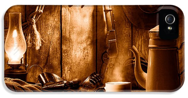 Coffee At The Cabin - Sepia IPhone 5 Case by Olivier Le Queinec
