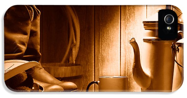 Coffee At The Ranch - Sepia IPhone 5 Case by Olivier Le Queinec