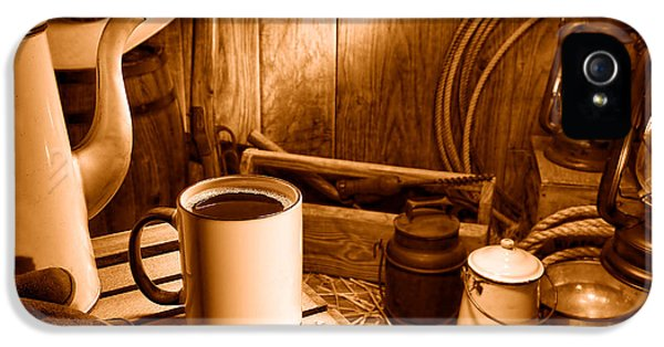 Coffee Break At The Chuck Wagon - Sepia IPhone 5 Case by Olivier Le Queinec
