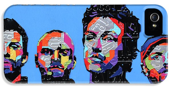 Coldplay Band Portrait Recycled License Plates Art On Blue Wood IPhone 5 Case