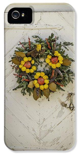 Colonial Nursery Door At Christmas IPhone 5 Case by Teresa Mucha