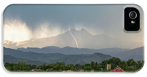 IPhone 5 Case featuring the photograph Colorado Front Range Lightning And Rain Panorama View by James BO Insogna