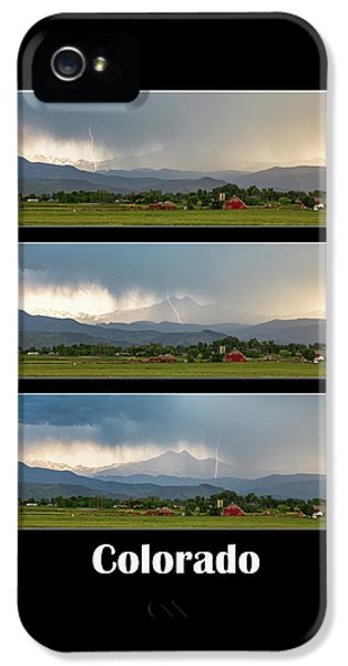 IPhone 5 Case featuring the photograph Colorado Front Range Longs Peak Lightning And Rain Poster by James BO Insogna