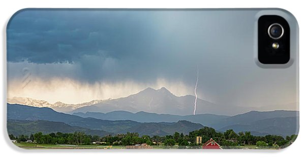 IPhone 5 Case featuring the photograph Colorado Rocky Mountain Red Barn Country Storm by James BO Insogna