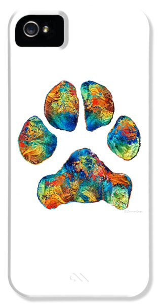 Colorful Dog Paw Print By Sharon Cummings IPhone 5 Case by Sharon Cummings