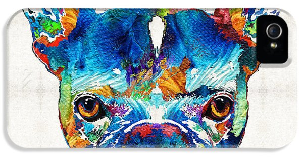 Colorful French Bulldog Dog Art By Sharon Cummings IPhone 5 Case by Sharon Cummings