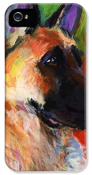 Animal iPhone 5 Case - Colorful German Shepherd Painting By by Svetlana Novikova