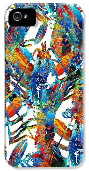 Colorful Lobster Collage Art - Sharon Cummings IPhone 5 Case by Sharon Cummings