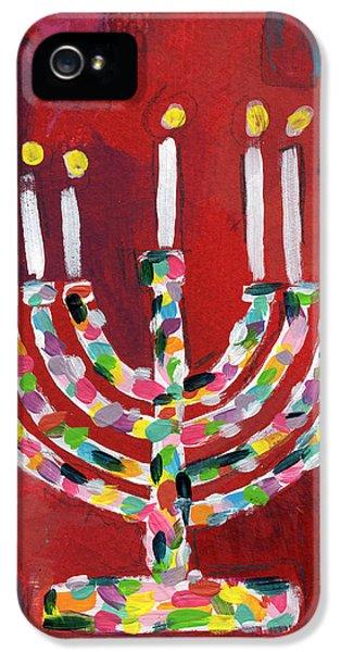 Colorful Menorah- Art By Linda Woods IPhone 5 Case