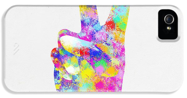 Arms iPhone 5 Cases - Colorful Painting Of Hand Point Two Finger iPhone 5 Case by Setsiri Silapasuwanchai