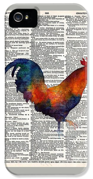 Colorful Rooster On Vintage Dictionary IPhone 5 Case by Hailey E Herrera