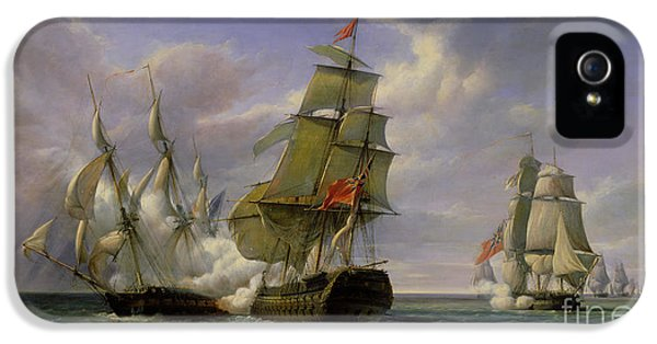 Combat Between The French Frigate La Canonniere And The English Vessel The Tremendous IPhone 5 Case by Pierre Julien Gilbert