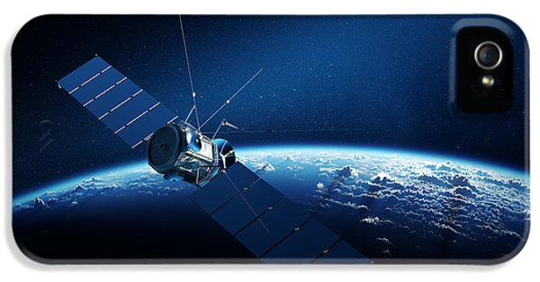 Communications Satellite Orbiting Earth IPhone 5 Case by Johan Swanepoel