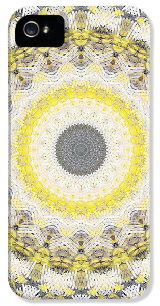 Concrete And Yellow Mandala- Abstract Art By Linda Woods IPhone 5 Case by Linda Woods