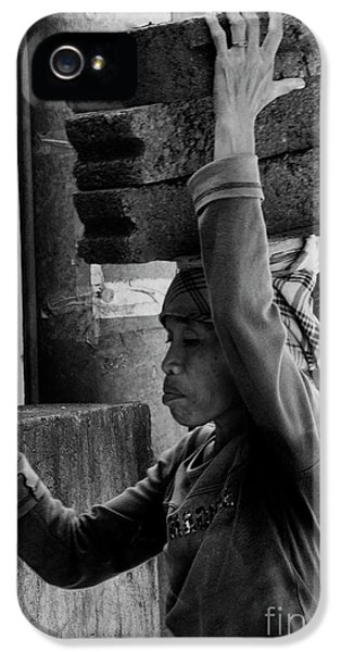 IPhone 5 Case featuring the photograph Construction Labourer - Bw by Werner Padarin