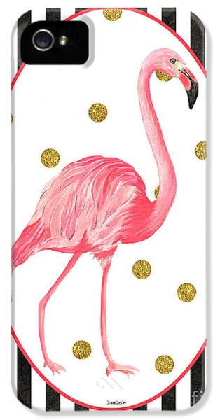 Contemporary Flamingos 2 IPhone 5 Case by Debbie DeWitt