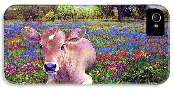 Nebraska iPhone 5 Case - Contented Cow In Colorful Meadow by Jane Small