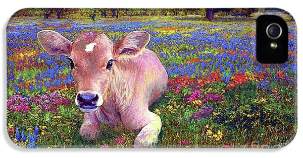 Cow iPhone 5 Case - Contented Cow In Colorful Meadow by Jane Small