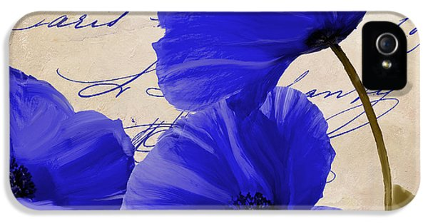 Coquelicots Bleue IPhone 5 Case by Mindy Sommers