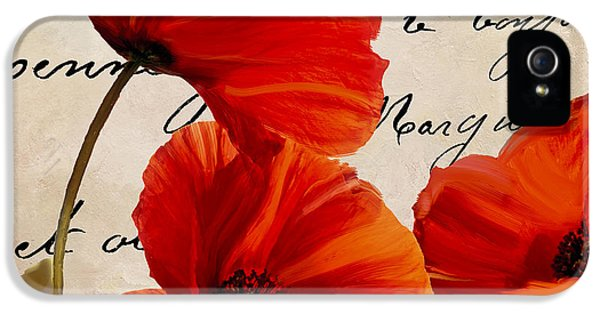 Coquelicots Rouge I IPhone 5 Case by Mindy Sommers