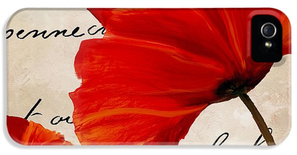 Coquelicots Rouge II IPhone 5 Case by Mindy Sommers