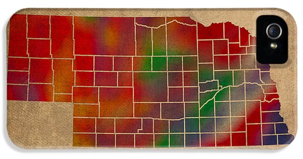 Nebraska iPhone 5 Case - Counties Of Nebraska Colorful Vibrant Watercolor State Map On Old Canvas by Design Turnpike
