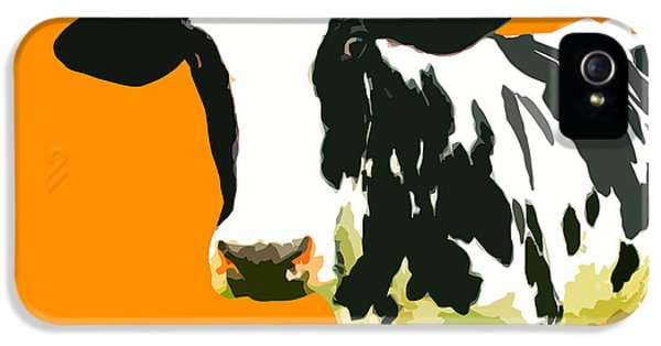 Cow iPhone 5 Case - Cow In Orange World by Peter Oconor