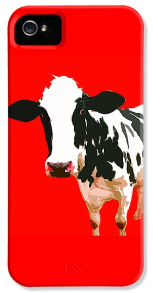 Cow In Red World IPhone 5 Case by Peter Oconor